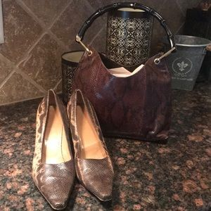 Authentic Vintage SnakeSkin Gucci Bag/ Heels